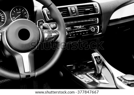 Modern car interior  #377847667
