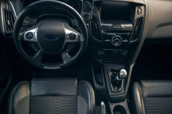 Modern car interior and dashboard and manual gearbox