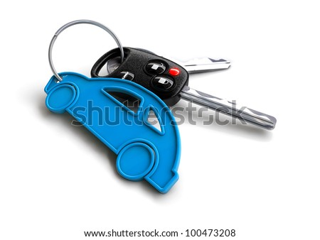 Modern car keys with blue car key ring isolated on white. Concept for owning or buying a new or pre-owned second hand car or car rentals, leasing a car or insuring your car.