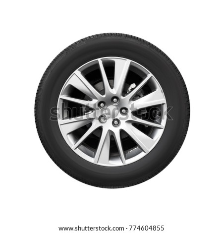 Modern car wheel on light alloy disc, front view isolated on white background #774604855