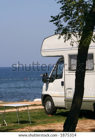 modern caravan at the campsite