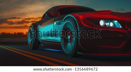 Modern cars are on the road. 3d illustration and 3d render.