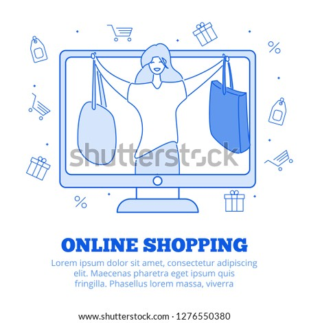 Modern cartoon flat character customer holding good buys sales purchases,web online shopping concept.Flat person happy girl buyer client hold bags in hands on computer screen,ready to use line icons