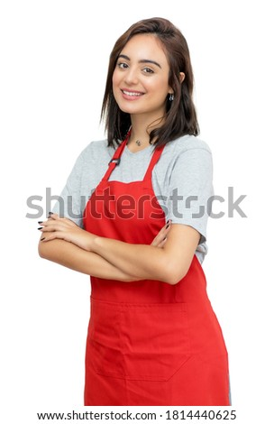 Modern caucasian waitress with red apron isolated on white background for cut out