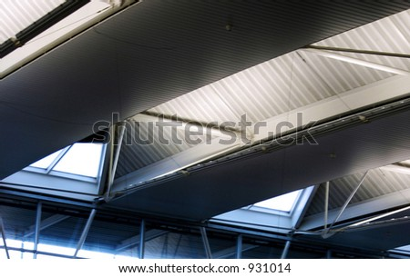 modern ceiling in Schiphol airport, amsterdam - stock photo