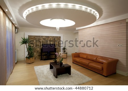 Contemporary Living Room Design on Modern Ceiling Lights In Living Room Stock Photo 44880712