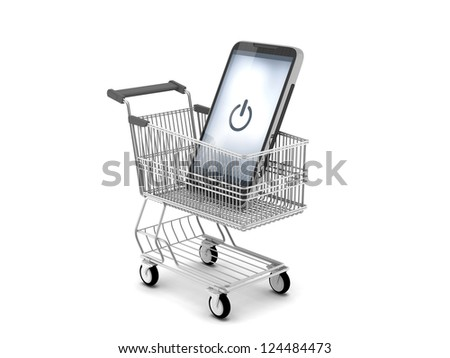 Modern cell phone in shopping cart