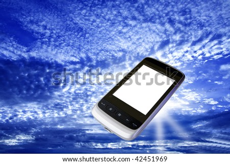 modern cell phone with white screen floating in bright blue sky