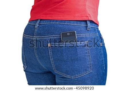 Modern cellphone sticking out of a jeans pocket isolated on white with clipping path