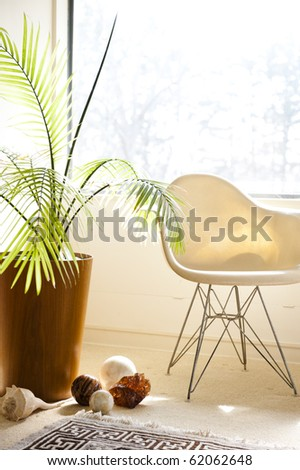 modern chair in a bright and sunny living room