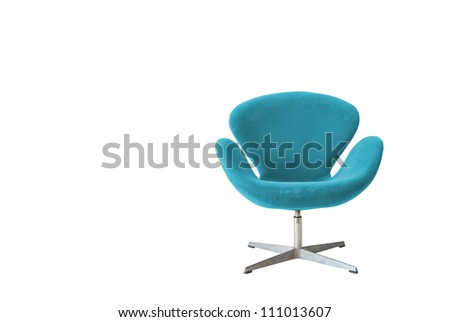 Modern chair in metal and blue fabric