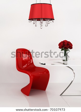 Modern chair in minimalism interior. Furniture. Loft. 3D Render