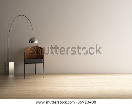 Modern Chair with floor lamp to face a blank white wall