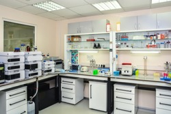 Modern chemical laboratory. Interior and equipment for biotechnological research.