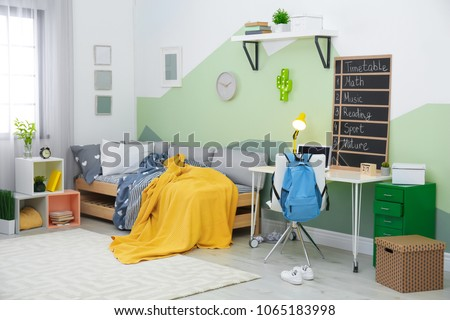 Modern child room interior with comfortable bed #1065183998