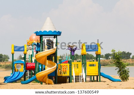 Modern children playground in park without children