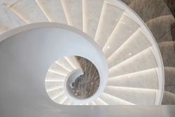 Modern Chinese style office,  Close up beautiful spiral staircase