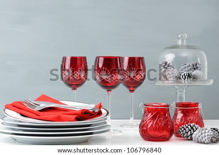 Modern christmas decoration table display in simple, elegant, minimalist style