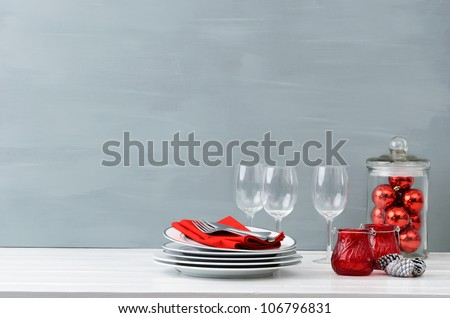 Modern christmas decoration table display in simple, elegant, minimalist style with lots of copy space