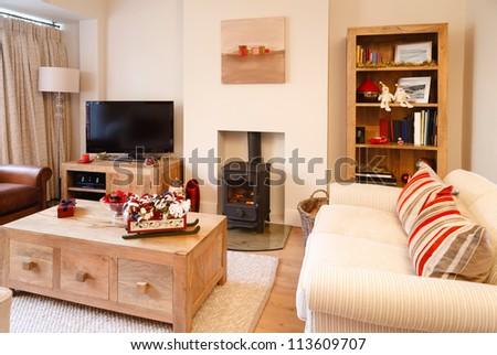 Modern christmas interior - stock photo