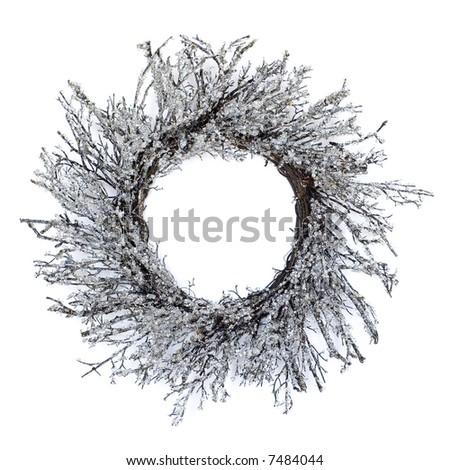modern christmas wreath - isolated white