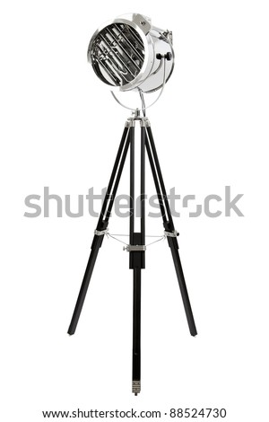 Modern Chrome Floor Lamp With Three Black Wooden Legs, Isolated On ...