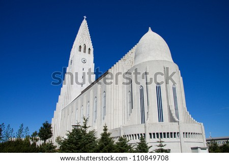 Modern church in Reykjavik, Iceland