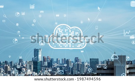 Modern city and cloud computing concept. Smart city. Communication network. System integration.
