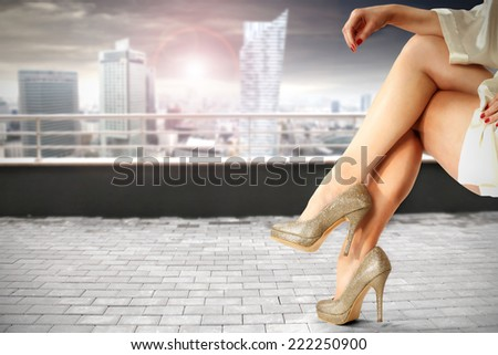 modern city and legs