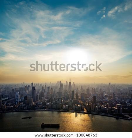 modern city at sunrise,Shanghai skyline.