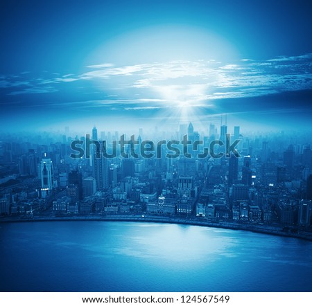 modern city at sunset,shanghai skyline.