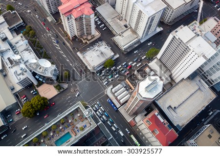 stock photo modern city crossroad from bird s perspective auckland downtown taken from sky tower 303925577 - Каталог - 3d фотообои