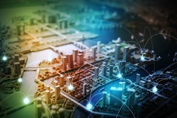 modern city diorama and wireless sensor network, sensor node and connecting line, information communication technology, internet of things, abstract image visual