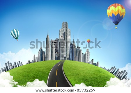 Modern city. ecological concept - stock photo