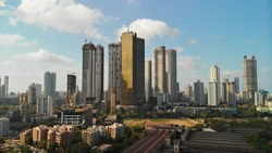 Modern City high rise skyscraper buildings. Aerial drone view of the Financial District in Mumbai. Daytime Mumbai City, India