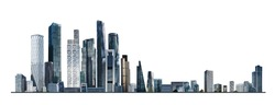 Modern City illustration isolated at white with space for text. Success in business, international corporations, Skyscrapers, banks and office buildings.