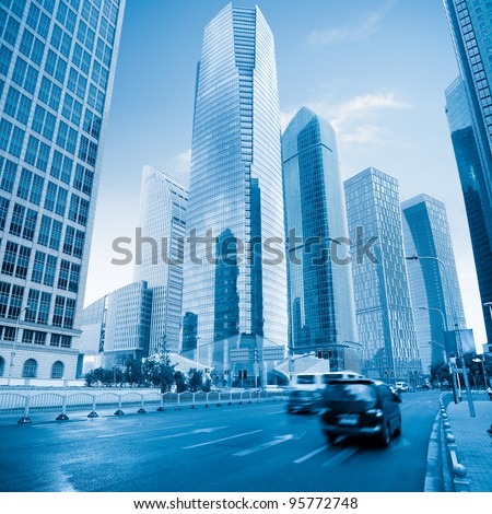 modern city in shanghai with blue tone