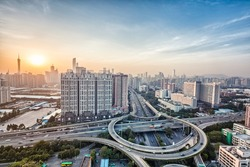 modern city interchange overpass at dusk in guangzhou, HDR image