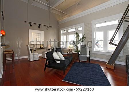 Modern city loft apartment with nice furniture. #69229168
