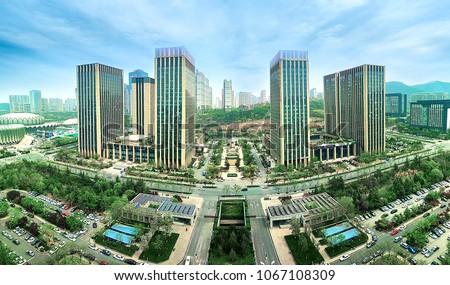 modern city office buildings in jinan shandong china #1067108309