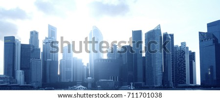 Modern city office business district background. #711701038