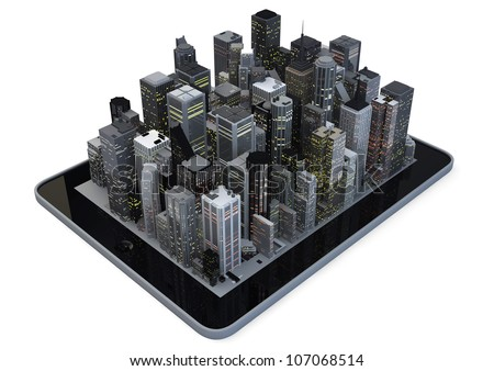 Modern city on a tablet - stock photo