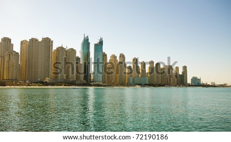 Modern city on the shore of the gulf