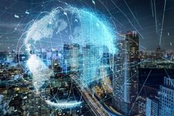 Modern city skyline and global communication concept.