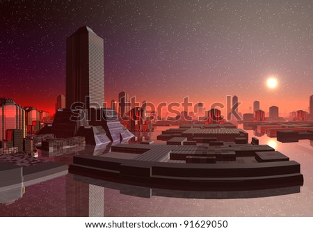 Modern City Skyline at Sunset