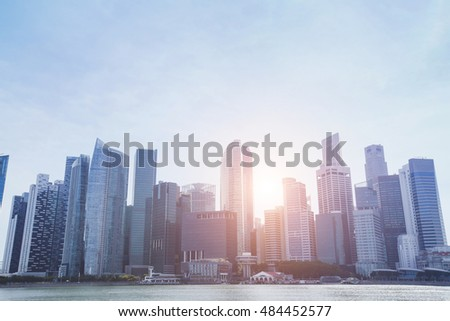 modern city skyline, beautiful abstract cityscape with skyscrapers, business buildings architecture