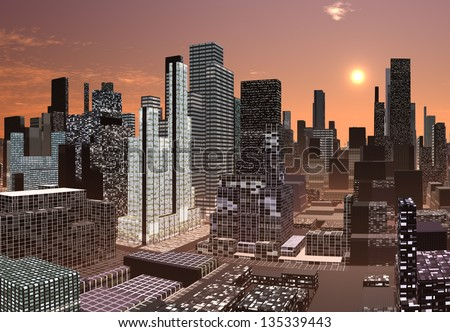 Modern City Skyline - Computer Artwork #135339443