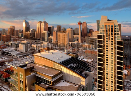 Modern City Skyline. Downtown of Calgary, Alberta - one of the cities with the most rapid growth in North America.