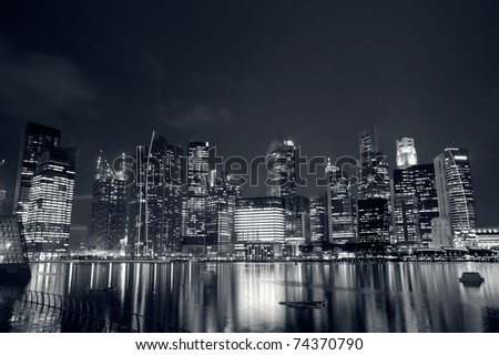 Modern city skyline with reflection on river in Singapore, Asia. #74370790
