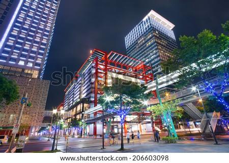 modern city street after heavy summer night rain, Taipei, Taiwan